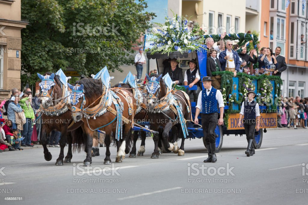 Oktoberfest Munich - Parade 'Arrival of the tent patrons' stock photo