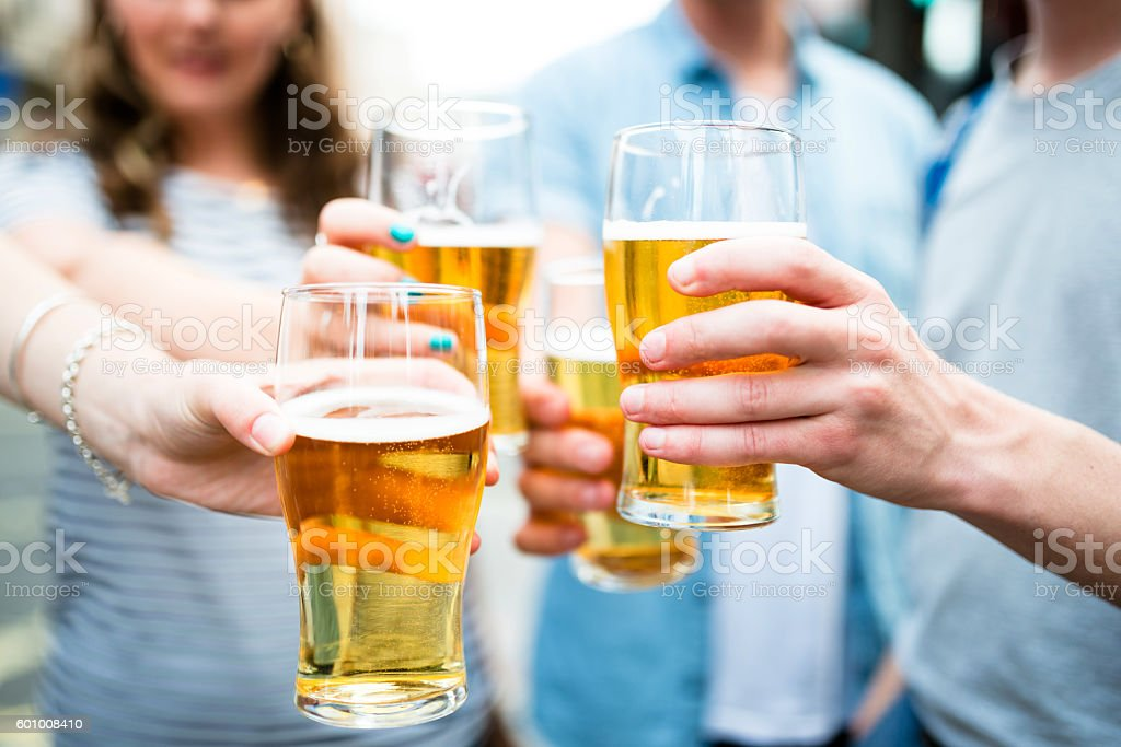 oktoberfest pints of beer stock photo