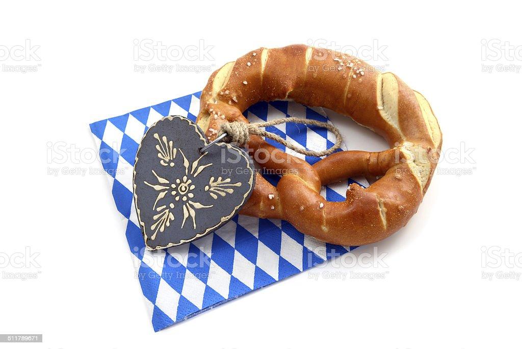 Oktoberfest Breze auf Blau Weiß bayerische Serviette – Foto