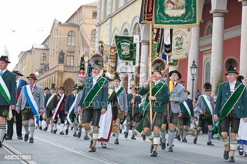 istock Oktoberfest - Traditional Costume and Riflemens parade through Munich 458251893
