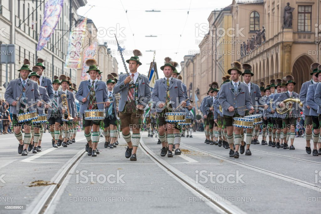 Oktoberfest - Traditional Costume and Riflemens parade through Munich stock photo