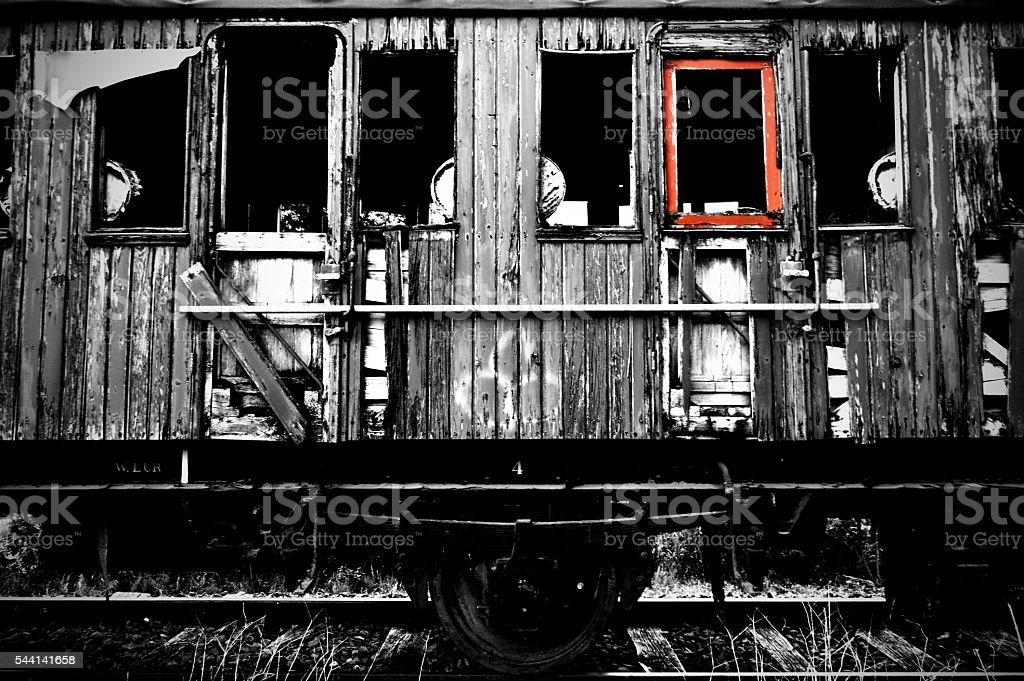 Ol and abstract train wagon stock photo