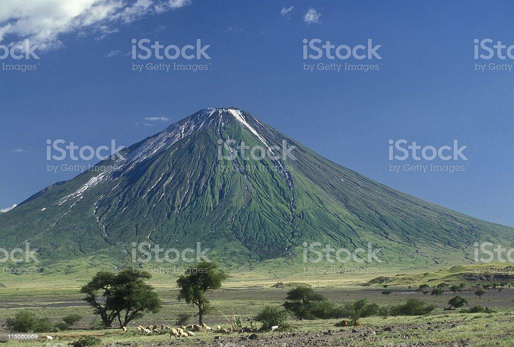 Ol Doinyo Lengai, holy mountain of the Masai stock photo