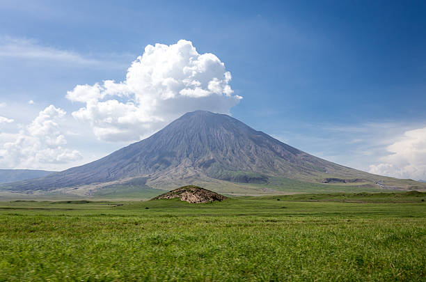 Ol Doinyo Lengai, holy mountain of the Masai stock photo