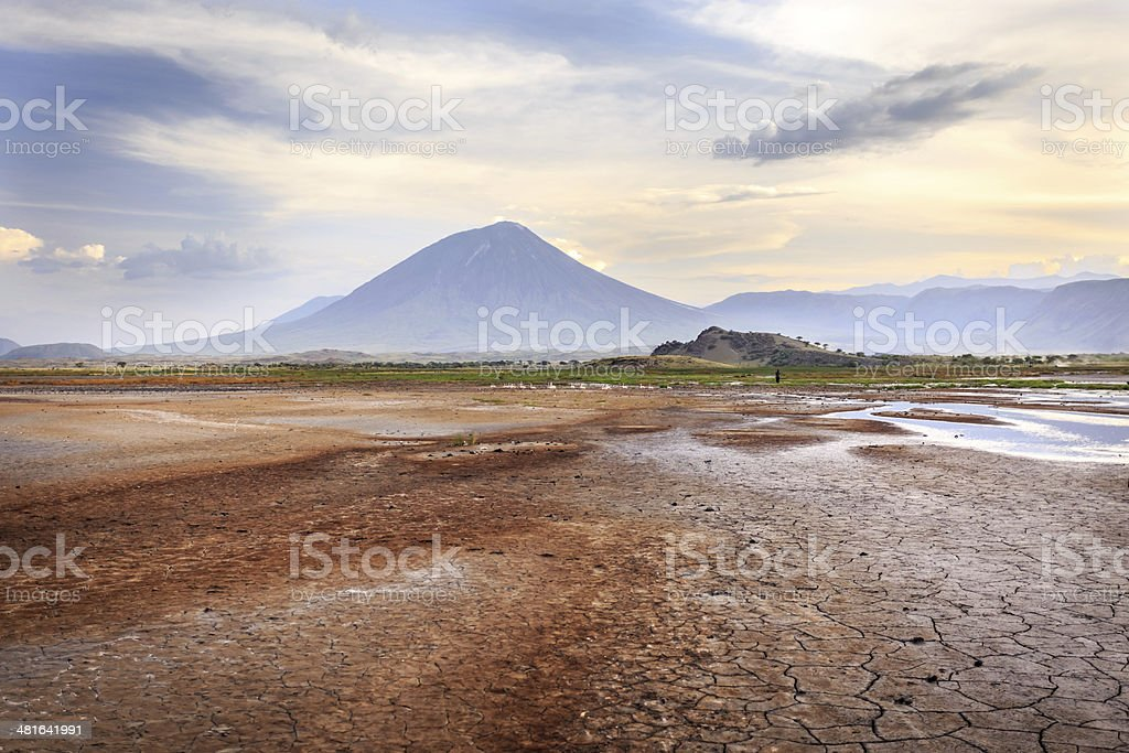 Ol Doinyo Lengai volcano view from Lake Natron stock photo