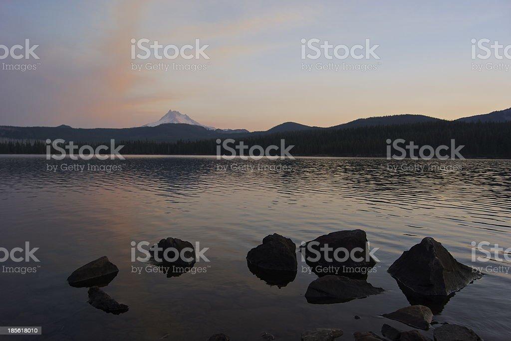 Olallie Lake Sunset stock photo