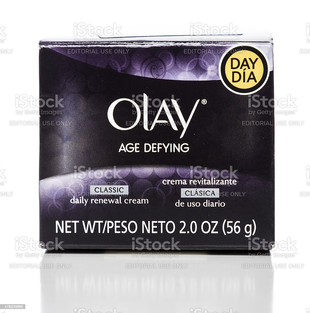 Olay Age Defying classic daily renewal cream box stock photo