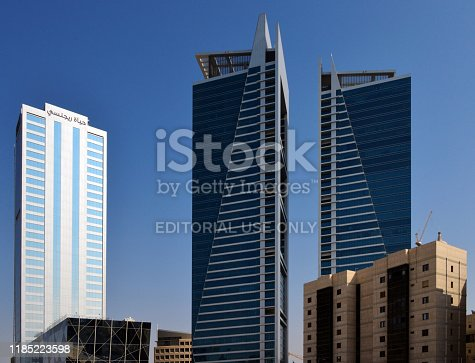 Riyadh, Saudi Arabia: Olaya Towers and Hyatt Regency Hotel - twin skyscrapers at Olaya Street and Mohammed bin Abdul-Aziz Street (formerly known as Al-Tahlia Street), Al Olaya district. Designed by BDPL Architects and Consultants.
