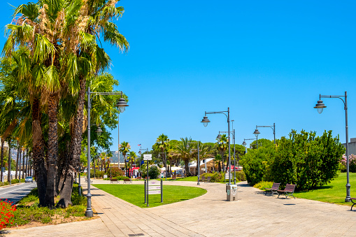 Olbia, Sardinia, Italy - Panoramic view of the Olbia public park in Port and yacht marina in the historic old town quarter