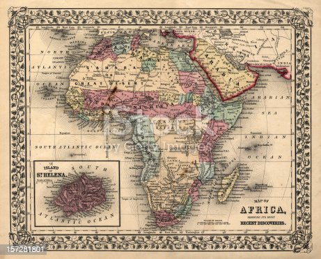 istock old 1800's map of africa 157281801