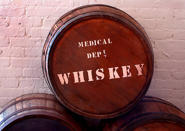 Old 1800s Medicinal (Medical) Whiskey Barrel Replica of a circa 1864 army whiskey barrel. Whiskey was used to treat wounds and disease. The