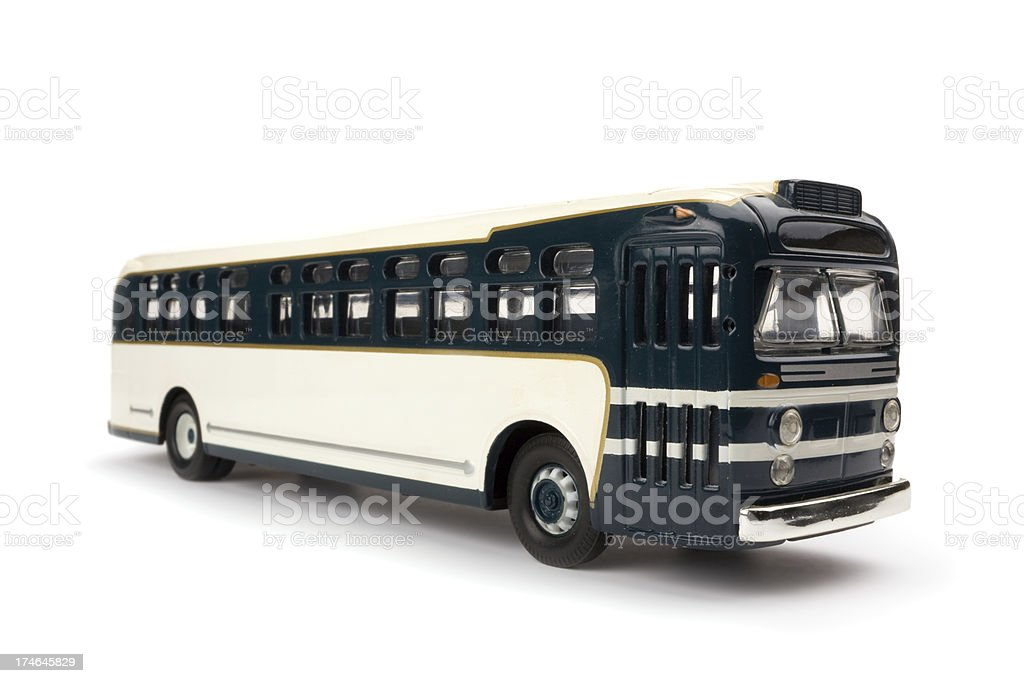 Old 1950s style Greyhound like toy coach royalty-free stock photo