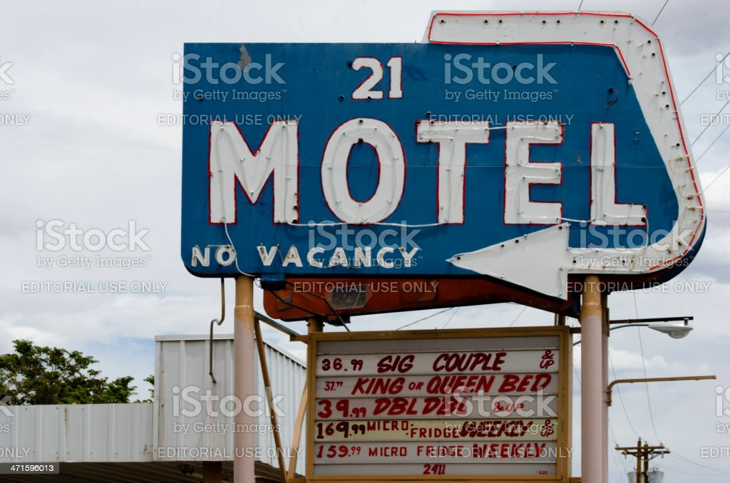 Old 21 Motel on Route 66 royalty-free stock photo