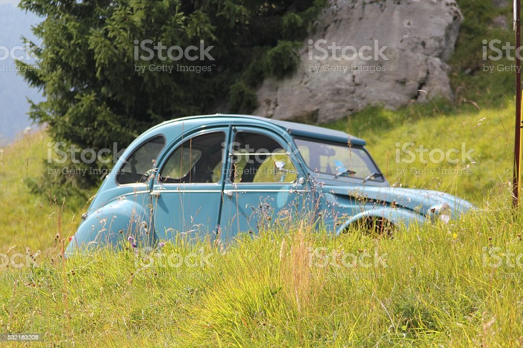 Old 2CV in Alp meadow stock photo