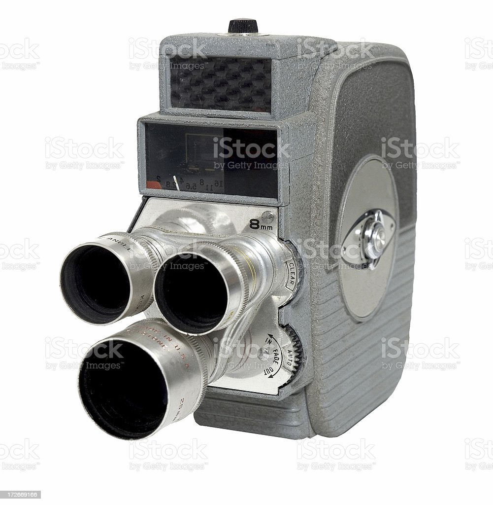 Old 3 Lens 8mm Camera stock photo