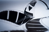 old 35mm film strip with shadow on blue background