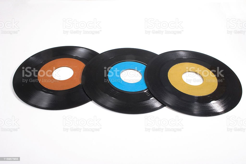 Old 45 RPM Vinyl Records royalty-free stock photo