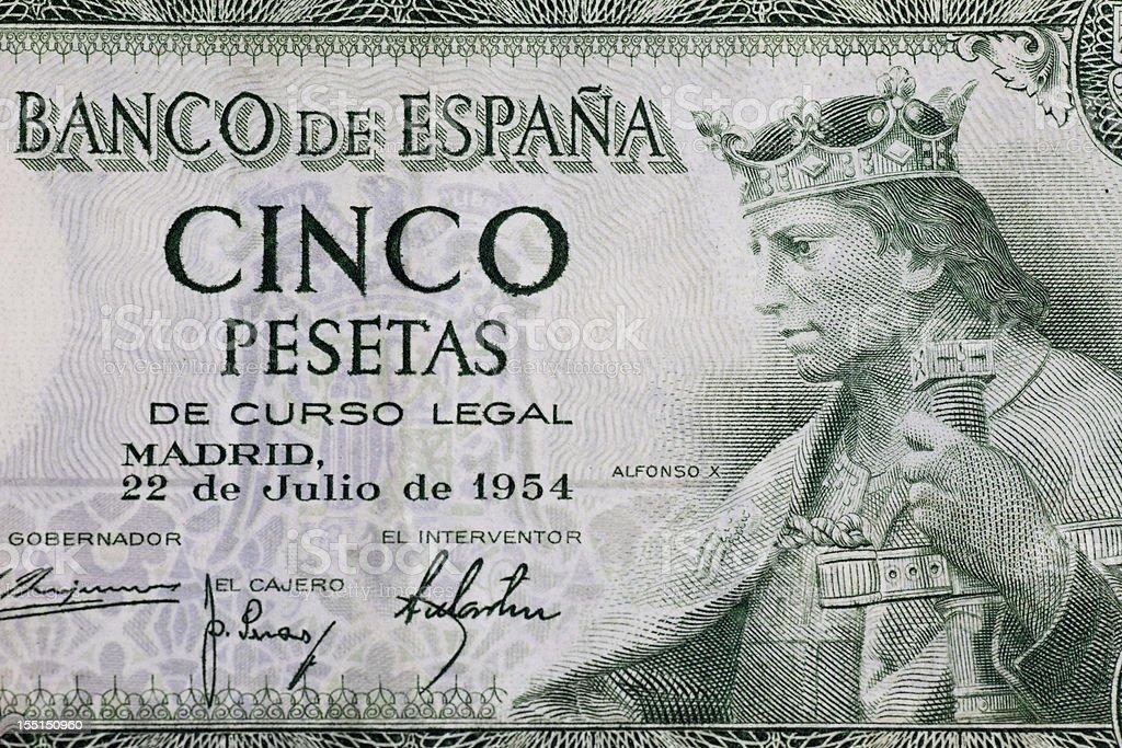 Antigua Billete De Banco De Cinco Peseta Foto de stock y más