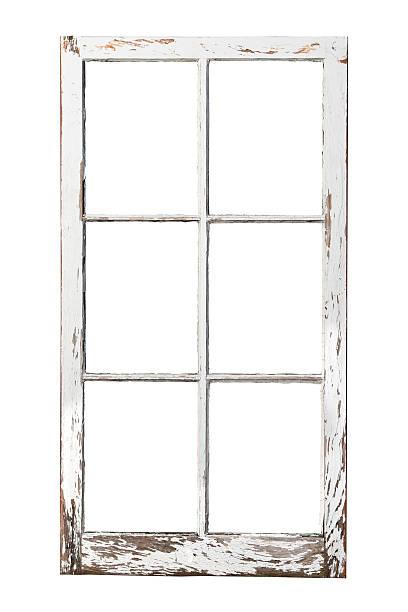 Old 6 pane window stock photo