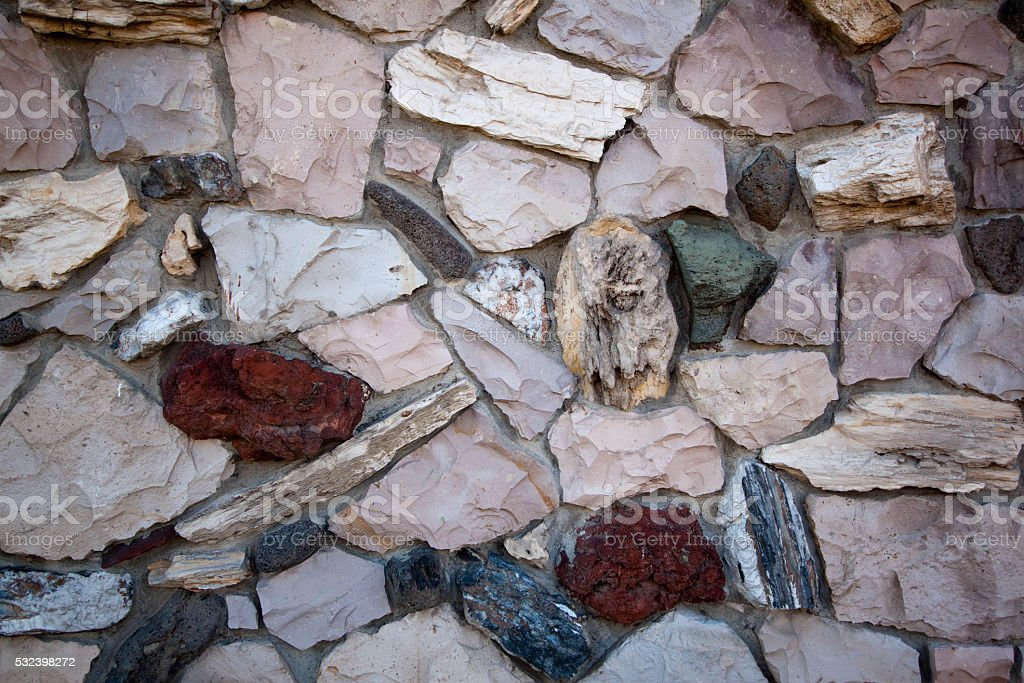Old 70's style brick siding stock photo