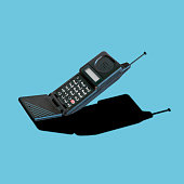 Old 90s classic analog mobile phone nostalgia in pastel color, with aerial antenna and microphone flip, for creative design cover, CD, poster, book, printing, gift card, flyer, magazine web & print
