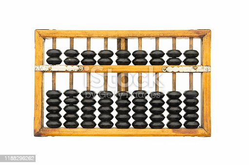 Old abacus ancient classic isolated on white background