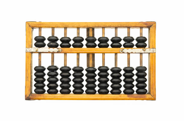 old abacus ancient classic isolated on white background - banchi scuola foto e immagini stock