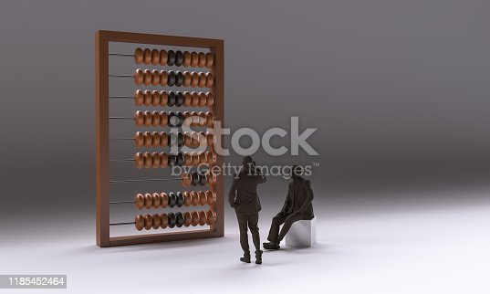 old abacus and businessmen on gray background - 3d rendering illustration, 3d models.