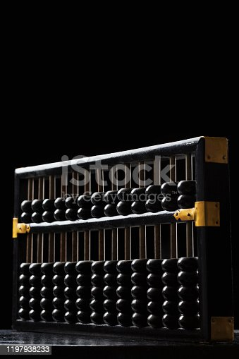 Old abacus on a black background.