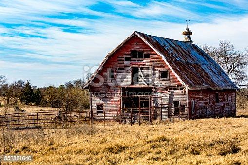 Rural Oklahoma Farmland with Old Run-down Abanonded Red Barn