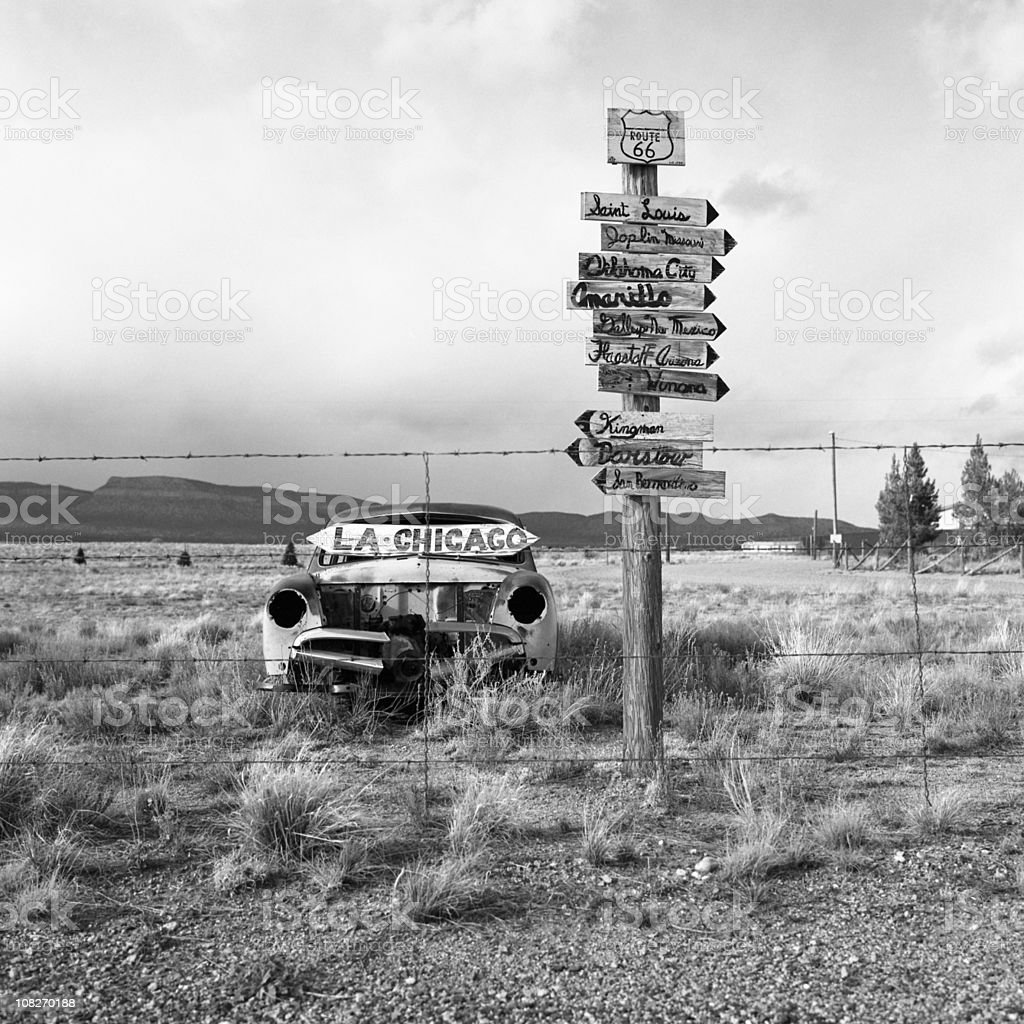 Old abandoned American car in the desert along Route 66 stock photo