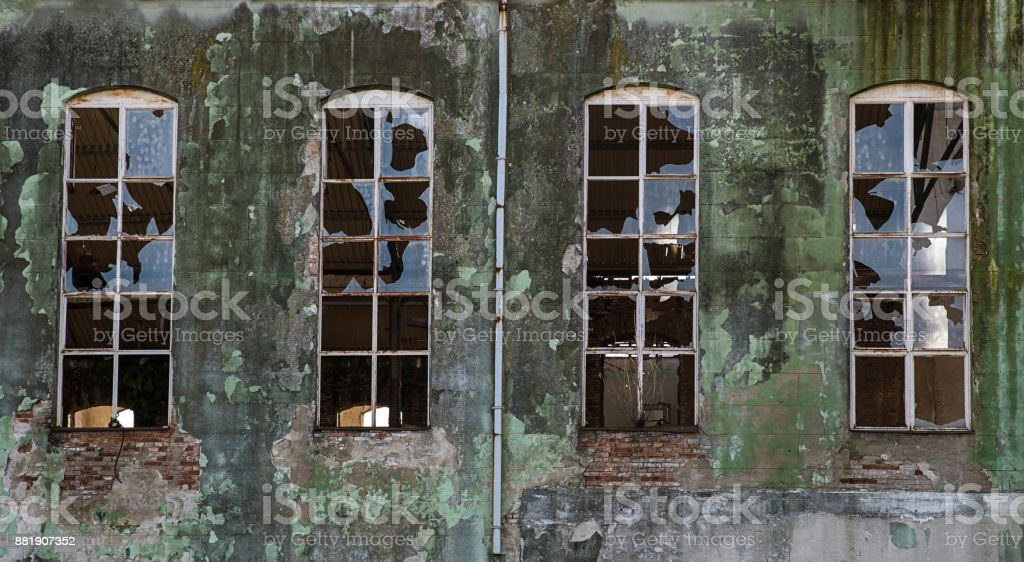 Old abandoned and destroyed stock photo