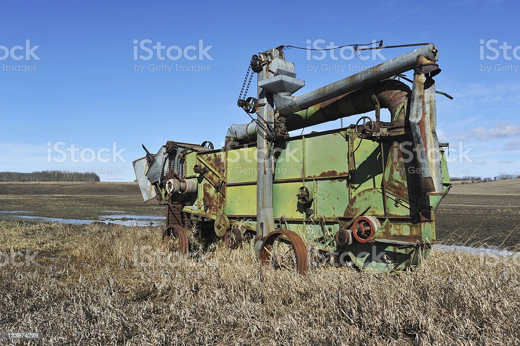 Old Abandoned Antique Farm Equipment Thresher Stock Photo More