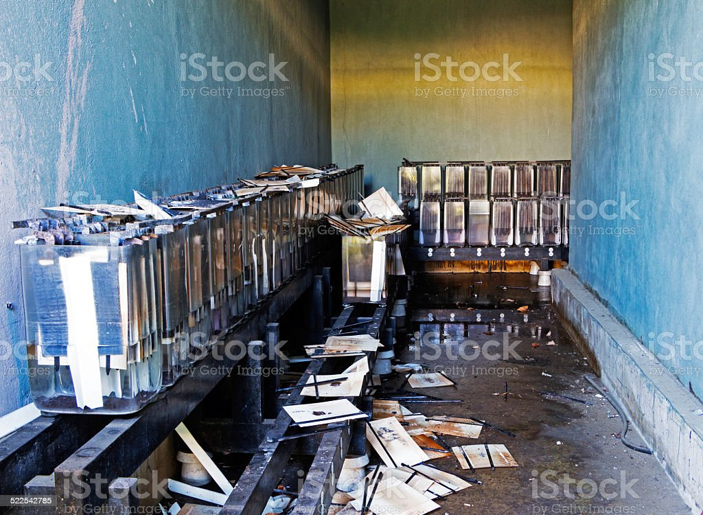 Old abandoned archive with folders and papers stock photo