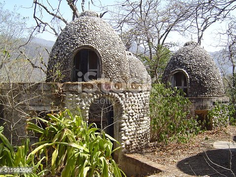 The residential buildings in this old, abandoned ashram near Rishikesh, India reminds me of beehives.