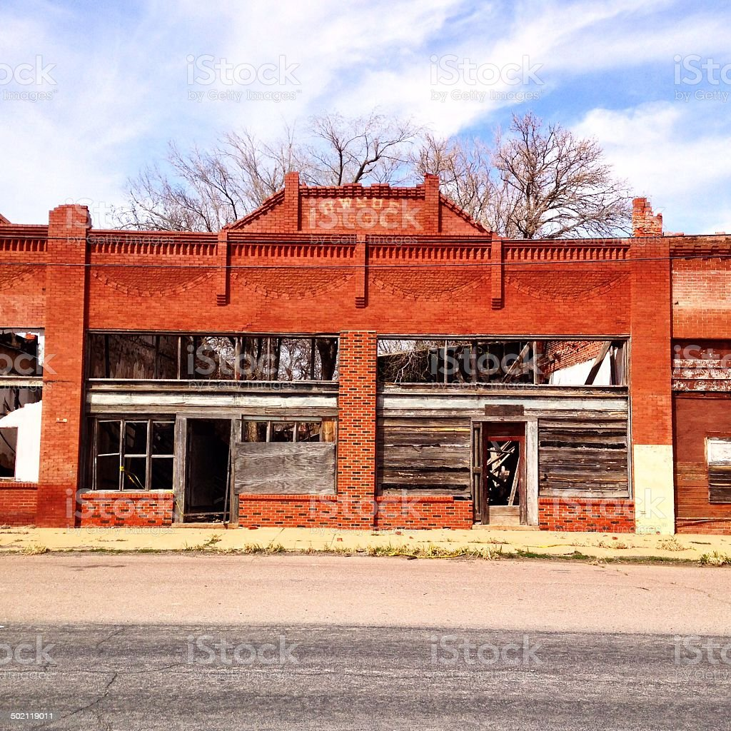 Old Abandoned Brick Building stock photo