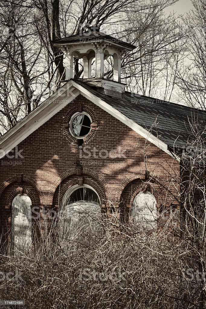 Old Abandoned Brick Church or Schoolhouse Building royalty-free stock photo