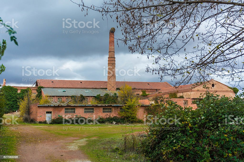 Old abandoned brick factory stock photo