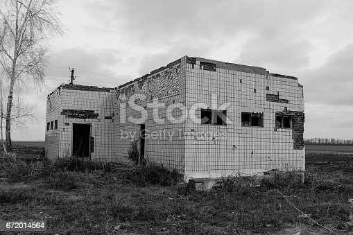 istock Old abandoned building in Ukraine. Black and white tone 672014564