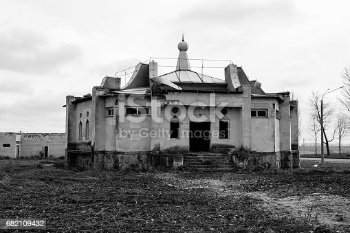 istock Old abandoned building in Ukraine. Black and white tone 682109432