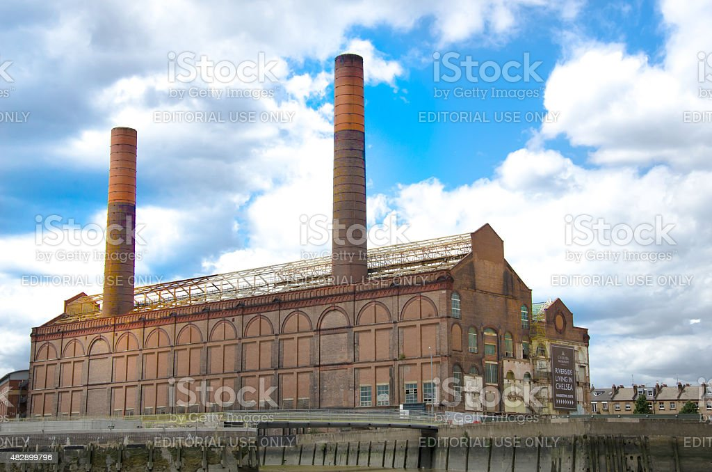 Old abandoned building on river Thames stock photo