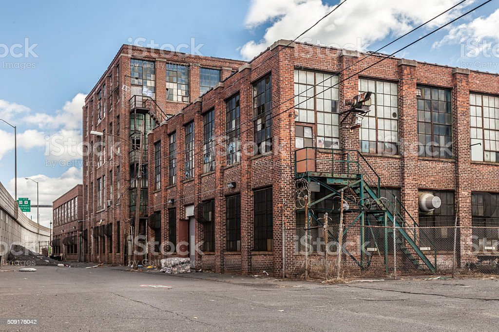 Old Abandoned Building with Broken Windows stock photo