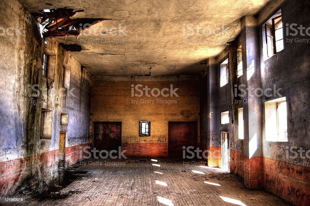 Old Abandoned, Burned and Ruined School royalty-free stock photo