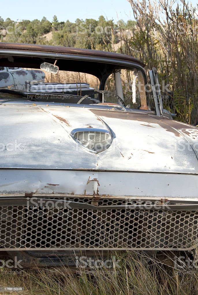 Old Abandoned Car in Weeds -  Rusty Faded White Paint royalty-free stock photo