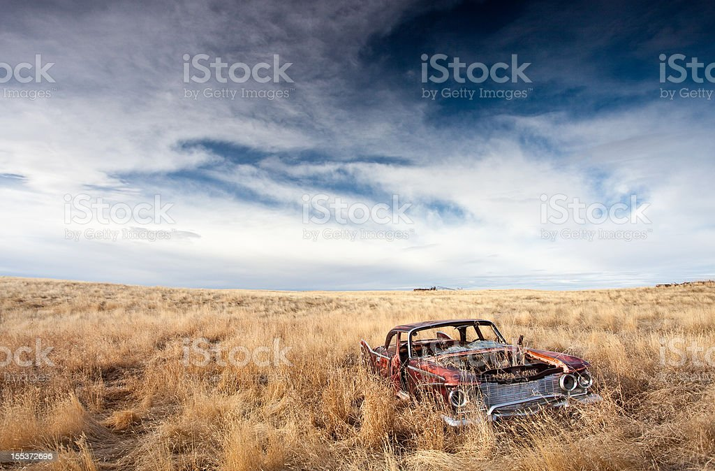 Old Abandoned Car on the Plains royalty-free stock photo