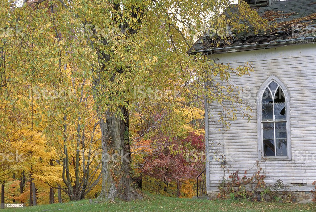 Old Abandoned Church in Autumn royalty-free stock photo