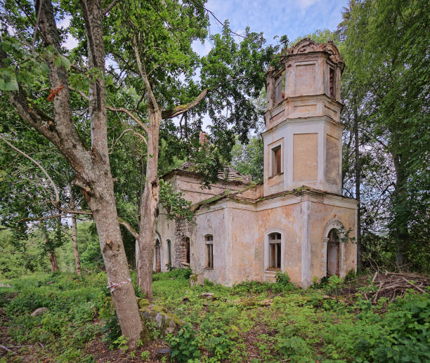 Old abandoned church ruins in Estonia stock photo