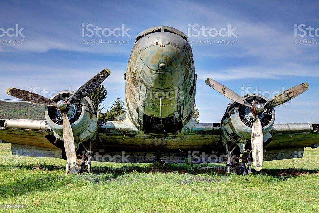 Old abandoned Douglas DC-3 airplane royalty-free stock photo