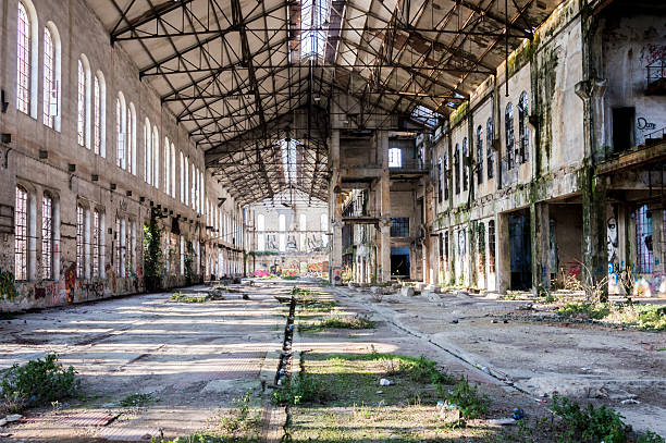 old abandoned factory - abandoned stock photos and pictures