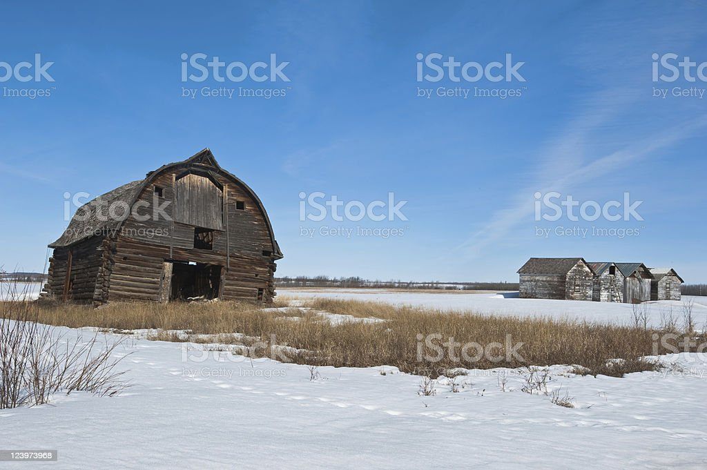 Old abandoned farm building:collapsing barn and granaries royalty-free stock photo
